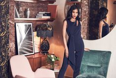 Tapered Jumpsuit with Draped Side Tie Detail Playsuits, Jewel, Jumpsuit, Glamour, Tie, Legs, Detail, Formal, Collection
