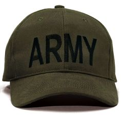 "ARMY Baseball Caps - Black, Olive, And Woodland Camo Accents - Comfortable Brushed Cotton Twill - Black Cap With Gold ""ARMY"" Embroidery On Front Panel (9285) - Olive Drab Cap With Black ""ARMY"" Embroid"