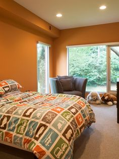 Nice Orange Boys Bedroom Wall Color Paint