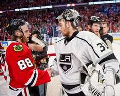 Patrick Kane #88 of the Chicago Blackhawks and goalie Jonathan Quick #32 of the Los Angeles Kings shake hands after the Blackhawks defeated the Kings to become the 2013 Western Conference Champions in Game Five of the Western Conference Final during the 2013 Stanley Cup Playoffs http://www.fansedge.com/Patrick-Kane-and-Jonathan-Quick-Chicago-Blackhawks-vs-Los-Angeles-Kings-in-Conference-Finals-Game-5-on-682013-_86598380_PD.html?social=pinterest_pfid77-37616