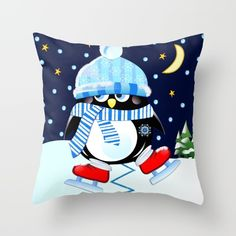 The skating penguin Throw Pillow