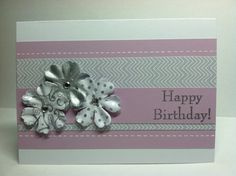 purple and silver birthday card