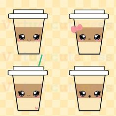 Kawaii Coffee Clip Art - Espresso Clipart, Hot Cocoa, Happy Coffee Cup, Coffee Addict, Digital Stickers, Free Commercial and Personal Use