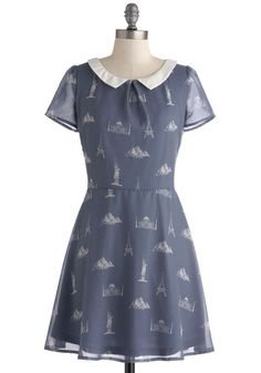 Monument for Each Other Dress by Sugarhill Boutique - Blue, White, Novelty Print, Peter Pan Collar, Party, A-line, Short Sleeves, Collared, ...