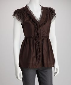 Take a look at this Coco Ruffle-Front Silk-Blend Button-Up Top by Glam Vintage on #zulily today!