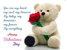Cute teddy for love messege quote, Quote on valentines day for love