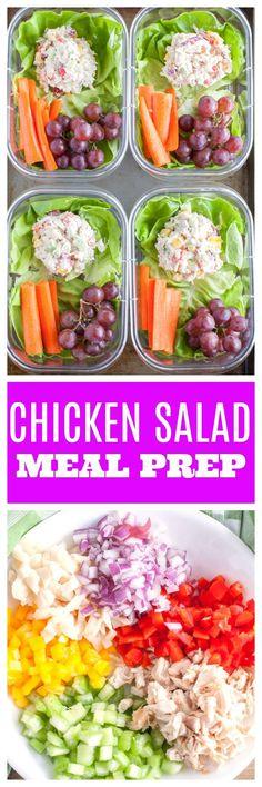 Chicken Salad Meal Prep. Made with Greek yogurt and loaded with veggies. A healthy lunch for the week. #Mealprep #chickensalad #chickenmealprep #healthylunch