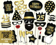 25th birthday photo booth props: printable PDF. Black and gold twenty fifth birthday party supplies. Instant download, digital download by HatAcrobat