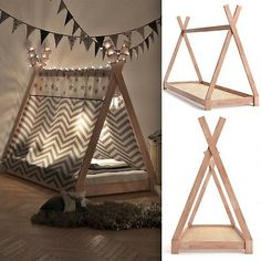 Teepee Tent Bed Frame Wooden Children Cabin Bed Kids Sigle Bed Tipi Bedstead New. Teepee Tent Bed Frame Wooden Children Cabin Bed Kids Sigle Bed Tipi Bedstead New Toddler Rooms, Baby Boy Rooms, Diy Toddler Bed, Toddler Beds For Boys, Toddler Teepee, Toddler House Bed, Toddler Bed Frame, Boy Toddler Bedroom, Toddler Playroom