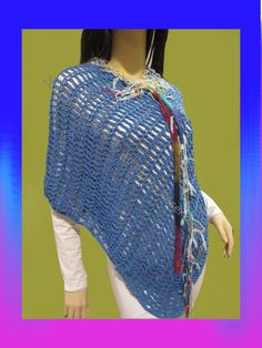 Funky Handmade Ponchos  Boho Deep Blue With by ArtisticFunk, $35.00 USE COUPON CODE PINTEREST10 For 10% Off