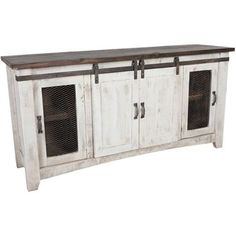 cheap crafters and weavers granville white 60 tv stand sideboard console table with sliding doors Barn Door Cabinet, Barn Door Tv Stand, Barn Door Console, Tv Stand With Doors, Cupboard, Tv Stand Sideboard, Sideboard Ideas, Console Tv, Console Cabinet