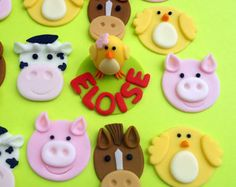 FARM ANIMAL set Edible Cupcake Toppers - 3D FIGURE included