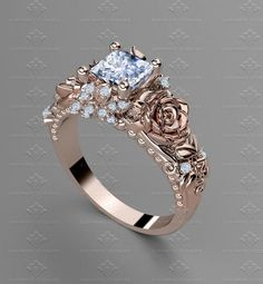 e74202c7cea8 rosa-del-amor-1-20ct-princess-cut-rose-gold-engagement-ring-2. Anillos De  Compromiso De ...