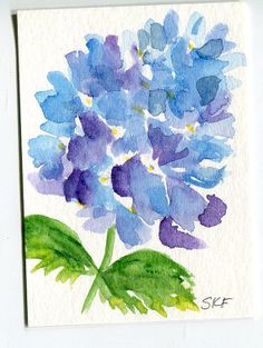 ACEO Blue Hydrangea Original Watercolor by SharonFosterArt on Etsy