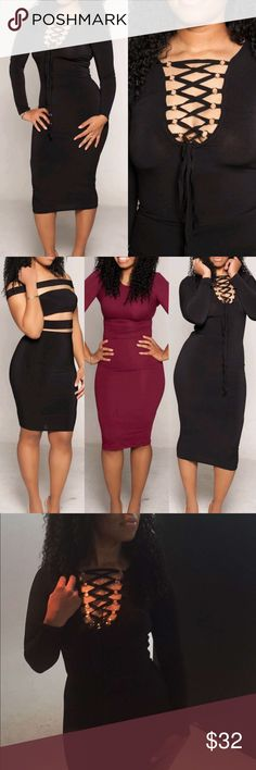 Nina Front Lace Gold Accent Bodycon Black Dress New Nina Front Lace Up Gold Accent Black Bodycon Dress - Black  ✅Offers are welcome ✅Posh accepts all payments  ✅Fast Shipping ✅Bundle Discount Fashion Nova Hot Miami Styles Windsor Missguided - FN sold out this exact dress last year. Fashion Nova Dresses Midi