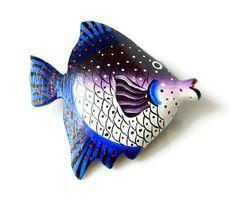 Fish Brooch Vintage Brooch Blue Purple Wood Retro by MsBsDesigns, $28.00