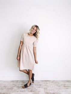 Pastel Pink Linen Dress  Eyelet Lace Detail  Gathered Waistline  Cuffed Short Sleeve  Linen Buttons on Back  Length Chart