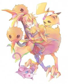 Yellow, Pikachu, Doduo, and Ratatta