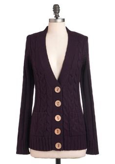 Love the oversized wood buttons on this classic v-neck cardigan $42.99