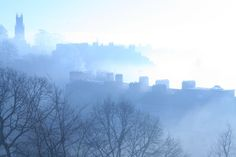 Rising mist. Morning view from the studio window. Bath Uk
