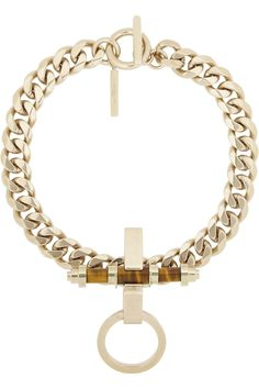 Givenchy | Obsedia necklace in pale gold-tone brass and tiger's eye | NET-A-PORTER.COM
