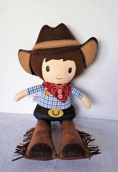 Fabric Doll Rag Doll Cowboy READY TO SHIP