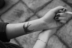 forearm tattoo - sparrow exactly at this location on my wrist and exactly this size