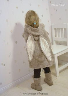 Baby Knitting Patterns KNITTING PATTERN bunny poncho with hood and tail Phoebe (tod...