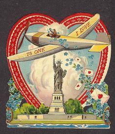 Vintage patriotic wartime Valentine's Day card