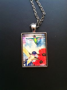 Hummingbird and Poppies Art Pendant Necklace by DomeLifeStudios for Meg