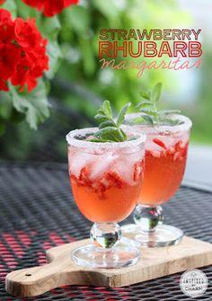 Strawberry Rhubarb Margaritas  http://www.inspiredbycharm.com/2014/06/strawberry-rhubarb-margarita.html
