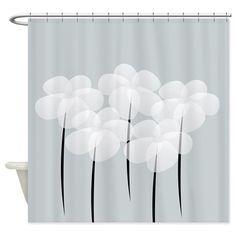 White Sheer Anemones Shower Curtain #anemones #flowers