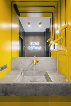 YoDezeen architects has completed interior design for a 430 sqm apartment centrally located in Kiev. Gym Interior, Yellow Interior, Bathroom Interior Design, Interior Architecture, Black Wall Tiles, Black Walls, White Tiles, Gym Design, Amazing Bathrooms