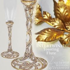 The Champagne Toasting Flute Intertwined Pearl features a Pearl Enamel background to emphasize the Museum Gold design which is richly accented with Aurore Boreale Swarovski Crystals.  Available thru www.luxuriousweddingaccessories.com