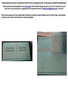Find gcf and lcm using a ladder diagram foldable with practice use this foldable to teach or review how to clear fractions and decimals from equations to ccuart Choice Image