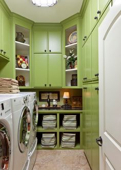 Fresh Bright Laundry Room in Green