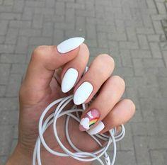 White nails and rainbow Nails Summer Acrylic Nails, Best Acrylic Nails, Pastel Nails, Aycrlic Nails, Nail Manicure, Swag Nails, Stylish Nails, Trendy Nails, Nagellack Design