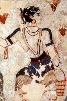 Greek Woman ~ Ancient Wall frescos of Thira , Santorini Island, Greece