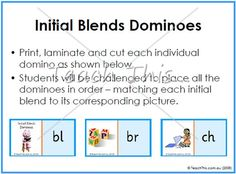 Initial Blends Dominoes - Fun School Literacy and Reading Games, dominoes, bingo, matching, board games and more :: Teacher Resources and Classroom Games :: Teach This