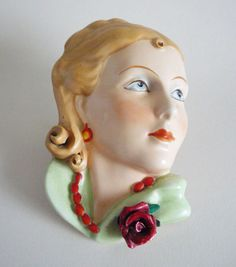 Royal Dux 'Lady with Red Rose' Wall Mask c1930