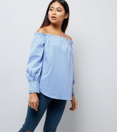 792370a973f64 Petite Blue Stripe Frill Trim Bardot Neck Top
