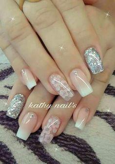 41 ways to putting glitter for nail polish idea 14 41 ways to putting glitter for nail polish idea 14 Classy Nails, Stylish Nails, Trendy Nails, Best Acrylic Nails, Acrylic Nail Designs, Nail Art Designs, Fancy Nails Designs, Perfect Nails, Gorgeous Nails