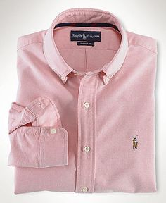 Polo Ralph Lauren Shirt, Core Classic Fit Oxford Dress Shirt - Mens Shirts - Macy's - Size M - Pink