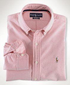 Polo Ralph Lauren Shirt, Core Classic Fit Oxford Dress Shirt - Mens Shirts - Macy's - Size M - Pink