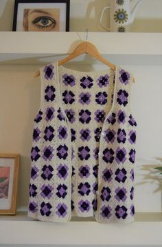 Wool crochet waistcoat vest granny square by Beyondthevintage