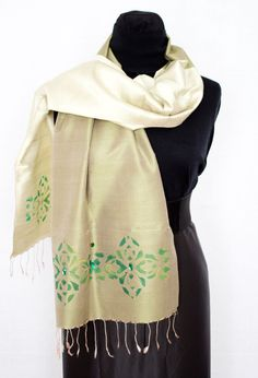 silk scarf olive scarf  accessories green scarf girl by InSetArte