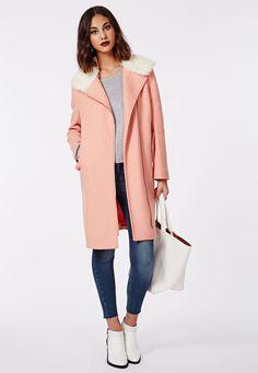 Kayla Shearling Collar Biker Coat Salmon - Coats & Jackets - Missguided