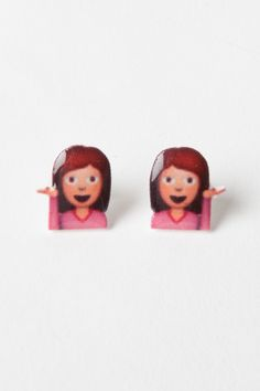 Sassy Emoji Girl Earrings http://shop.nylon.com/collections/whats-new/products/sassy-emoji-girl-earrings #NYLONshop