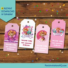 Paw Patrol Skye Thank You Tags  Pink Paw Patrol Party Favors