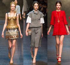 Siluetas estructuradas y vestidos de encaje. Dolce & Gabbana en MFW!